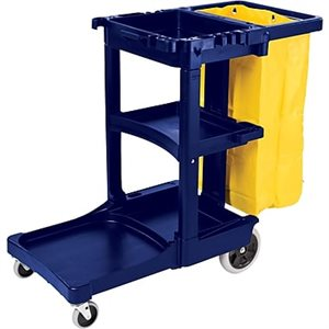 Blue cleaning trolley with yellow vinyl bag