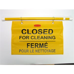 Safety hanging sign with multilingual 'Closed for cleaning' imprint