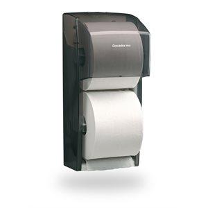Distributrice universelle grise standard de papier hygiénique à deux rouleaux