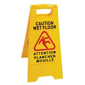 """Wet floor sign 'Caution wet floor' bilingual 24"""""""