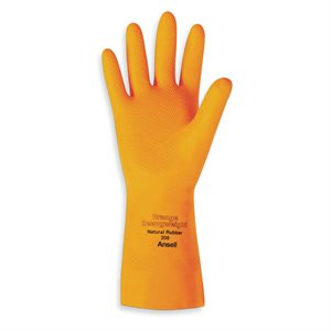Heavy duty orange latex gloves