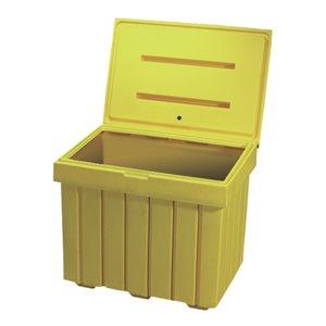 Yellow plastic salt and sand bin 9' cube