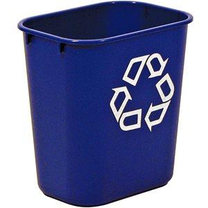 "Rect. recycling wastebasket 3.25 gal blue 11 3 / 8""x8 1 / 4""x 2 1 / 8"" H"