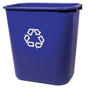 """Rect. rec. wastebasket 7 gal blue 14 3 / 8""""x10 1 / 4""""x15""""H"""