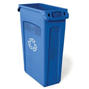 'Slim Jim' recycling container with venting channels blue