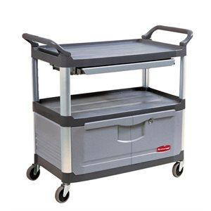 Gray Cart with lockable doors & sliding drawers 300lbs cap.