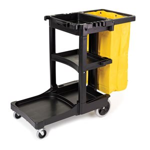 Black janitor cart with yellow vinyl bag