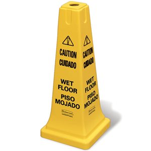 """Safety cone multi-lingual """"Caution Wet Floor"""" yellow"""
