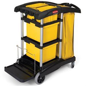 Black microfiber janitor cart